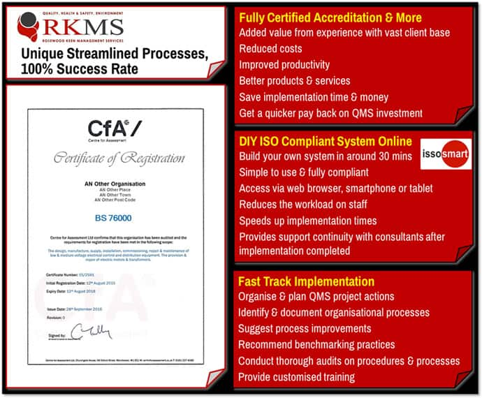 BS 76000 Certification and Accreditation Costs